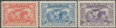 Australia KGV SG121-3 1931 Kingford Smith's World Flights set of 3 (AGCM/638)